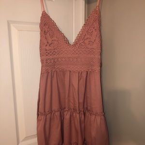 Trendy pink lace tiered dress